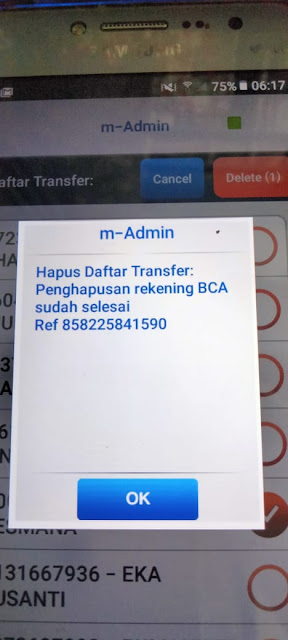 cara menghapus rekening bank lain di aplikasi mobile banking BCA