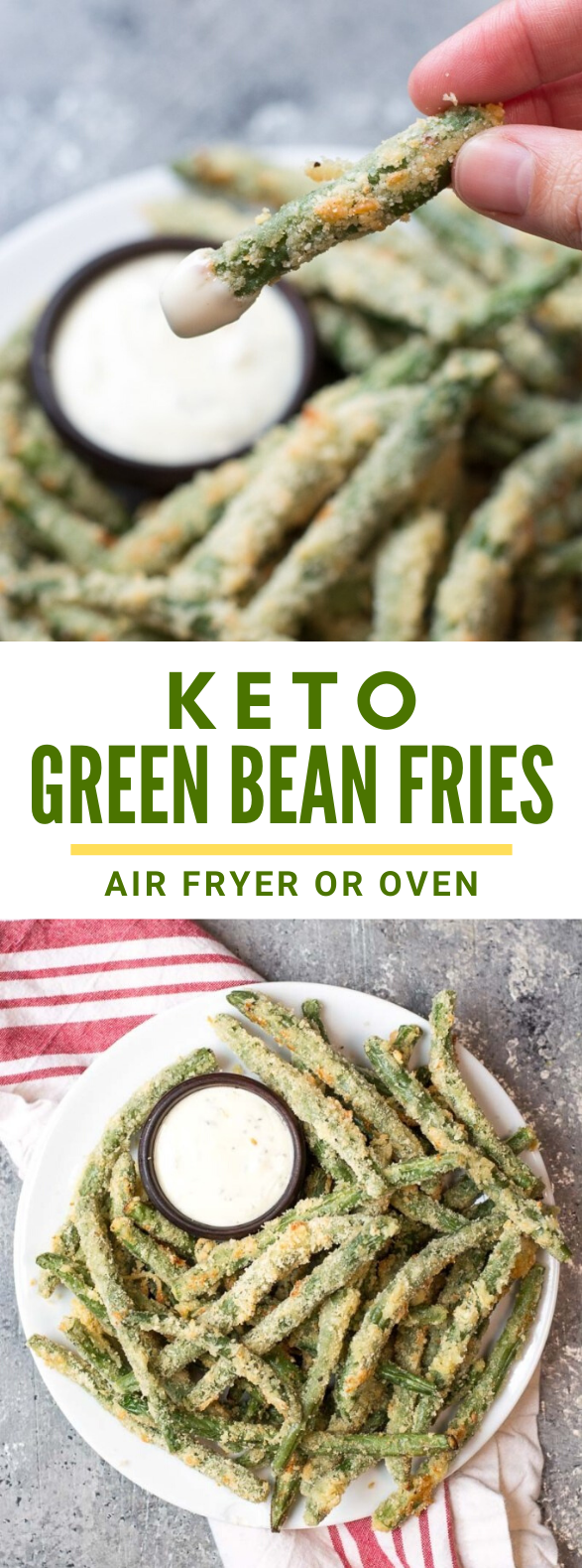 CRISPY GREEN BEAN FRIES (LOW CARB + AIR FRYER AND OVEN) #diet #gameday