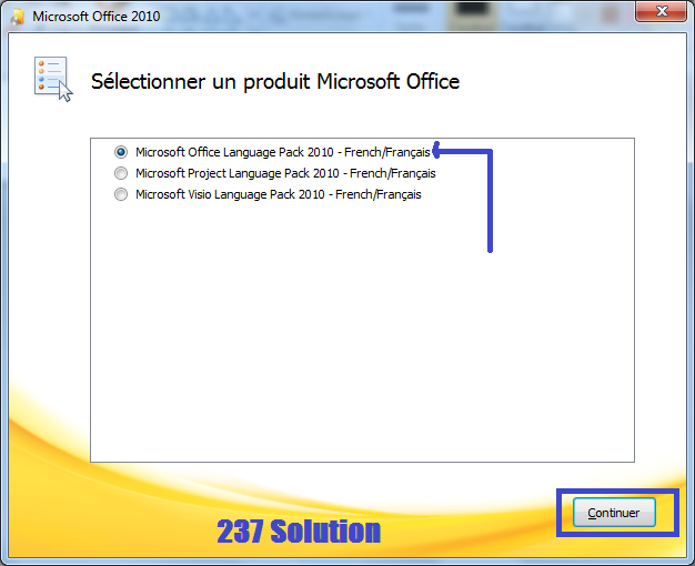 Select product to install lang pack for