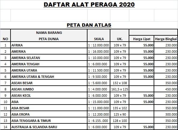DAFTAR HARGA PETA DAN ATLAS 2020 - Pusat Buku Tema