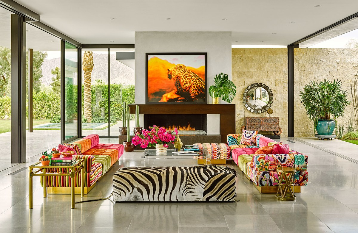 Vibrant colorful sectional sofa with Missoni brass at Oasis Palm Springs California