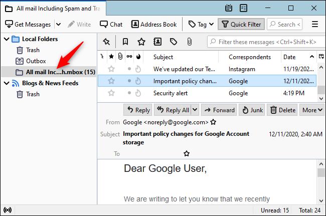 Thunderbird يعرض ملف Gmail MBOX ضمن مجلداته المحلية.