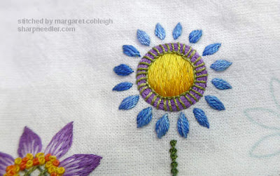 Blue embroidered flower with yellow centre