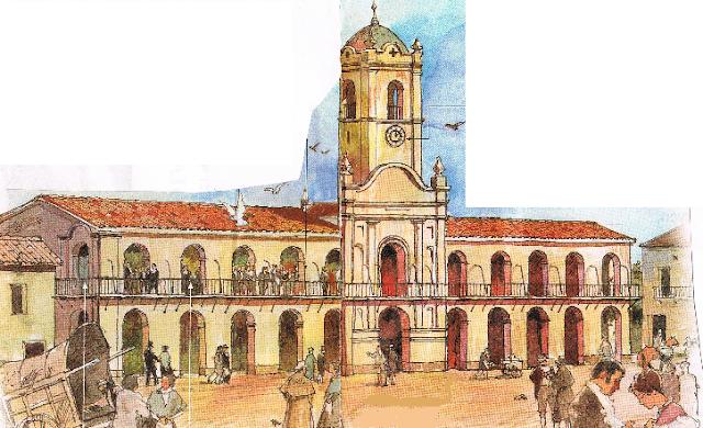 Dibujo del cabildo en el 1800