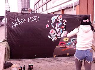 brussels bruxelles brussels street art streetart canal anthea missy art graffiti artist mural painter https//www.antheamissy.com europe female woman global belgium belgique canal haven feest graphic design boat water contemporary