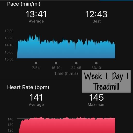 Treadmill run, Week 1 Day 1
