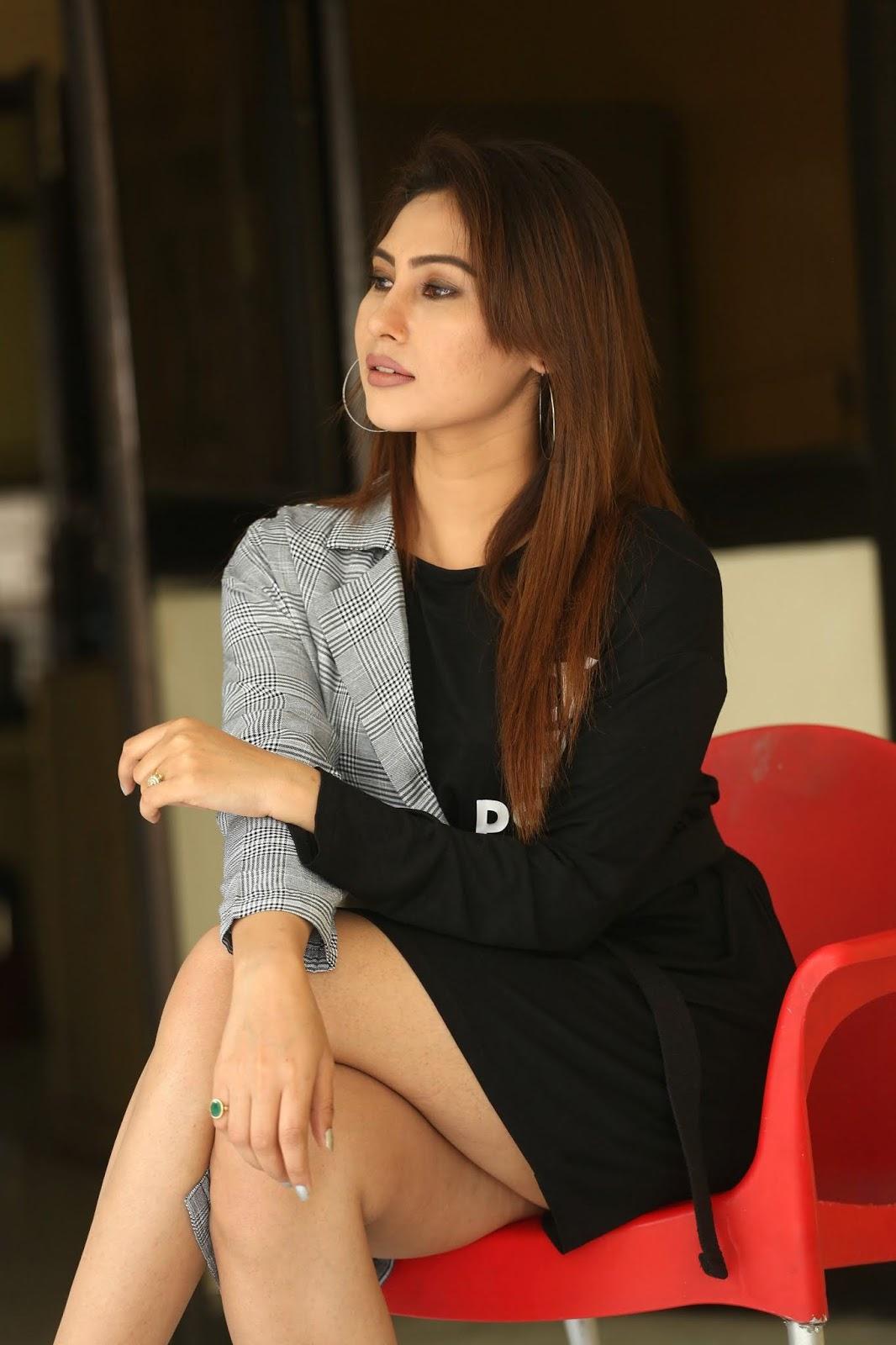 Keisha Rawat Sitting Crossed Legs at Vithalwadi Movie Interview