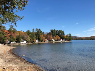Beach and pond in autumn