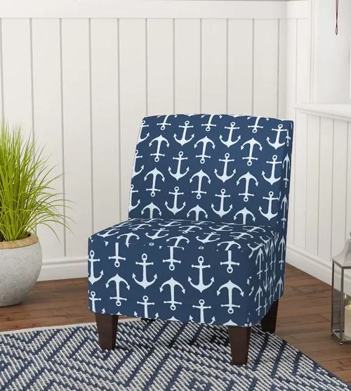 Anchor Motif Upholstered Armless Slipper Chair