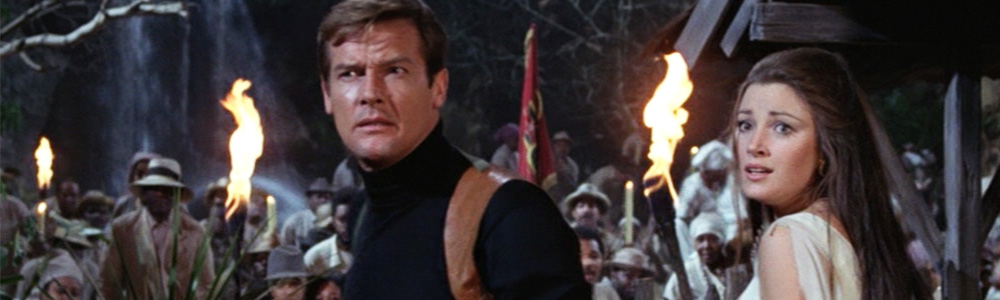 Roger Moore stumbles his way through fake snakes and real crocodiles