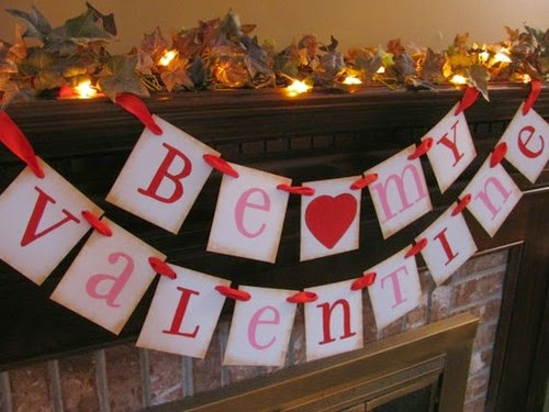 Home made valentines bunting