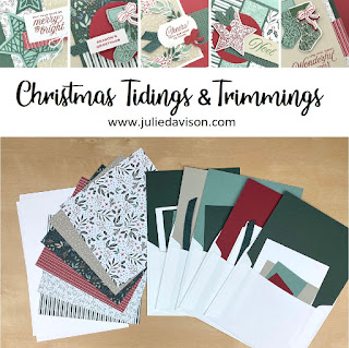 Christmas in July: Stampin' Up! Tidings & Trimmings Card Class Sneak Peek  ~ www.juliedavison.com July 2021 Stamp of the Month Card Class #stampinup