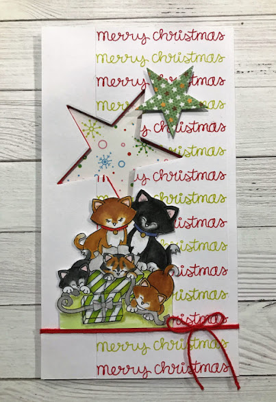 Merry Christmas by Helen F. features Newton's Christmas Kittens by Newton's Nook Designs; #newtonsnook, #christmas, #cardmaking