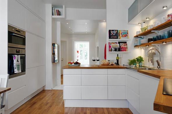 Blog wnętrzarski  design, nowoczesne projekty wnętrz Salon, jadalnia i kuch   -> Kuchnia Drewniana Bielona