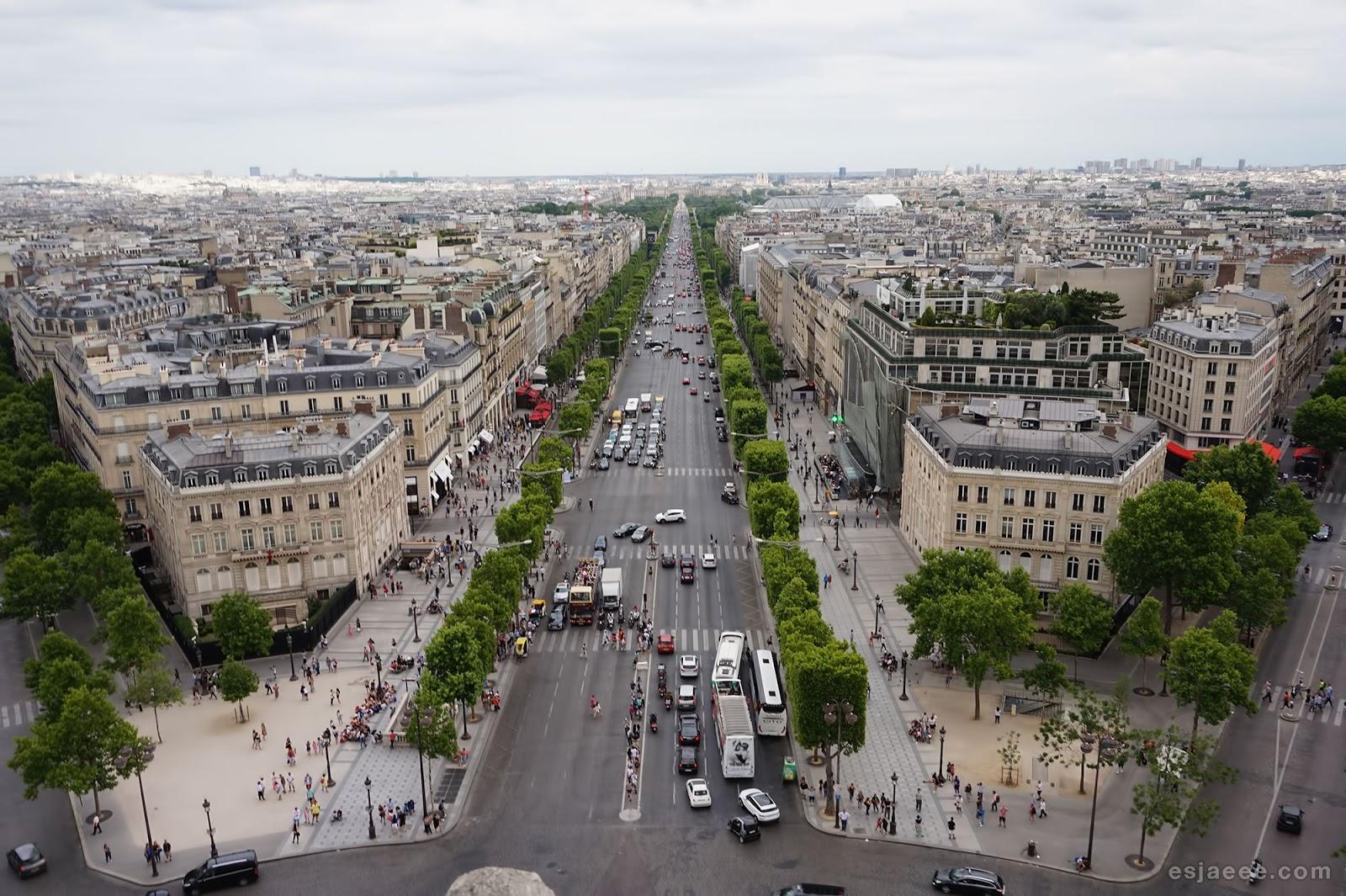 View of Champs Élysées from Arc de Triomphe