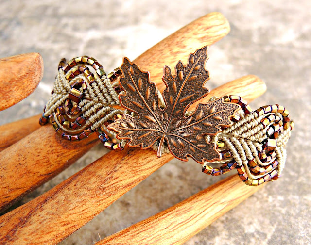 Micro macrame bracelet by Sherri Stokey with leaf focal.