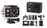 Logo Action Cam Kequ Full HD con accessori e supporti : sconto 85% da € 114,81 a € 16,90! Oltre 1.000 pezzi acquistati