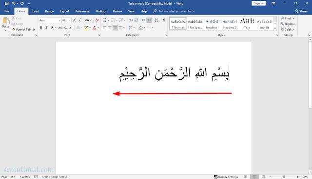 cara menuliskan huruf arab di microsoft word