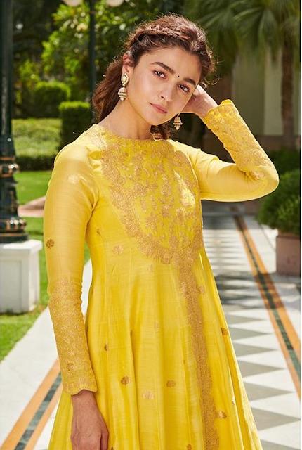 Alia Bhatt Wearing Yellow Color Suits Dress