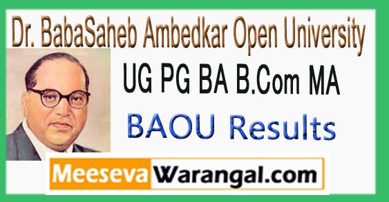 BAOU UG PG BA B.Com MA Results 2017