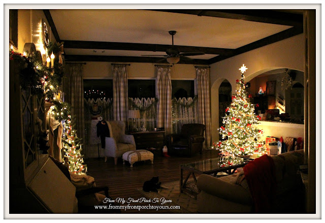 French Farmhouse Christmas Living Room- DIY Wood Beams-Farmhouse Christmas Tree-From My Front Porch To Yours