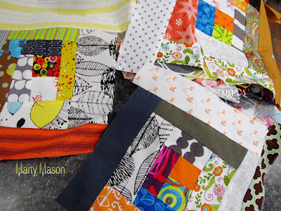 Improvisational blocks put together in quilt as you go fashion