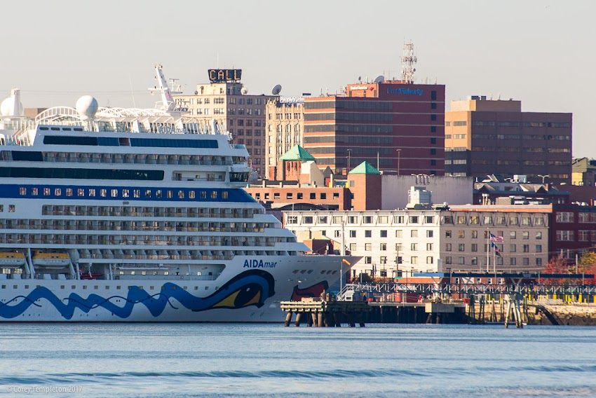 Portland, Maine USA October 2017 photo by Corey Templeton. A visiting cruise ship, the AIDAmar, towering over most of the Portland skyline.