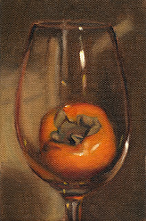 Oil painting of a persimmon in a wine glass.
