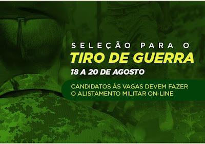Seleção para o Tiro de Guerra em Cajati acontece em agosto