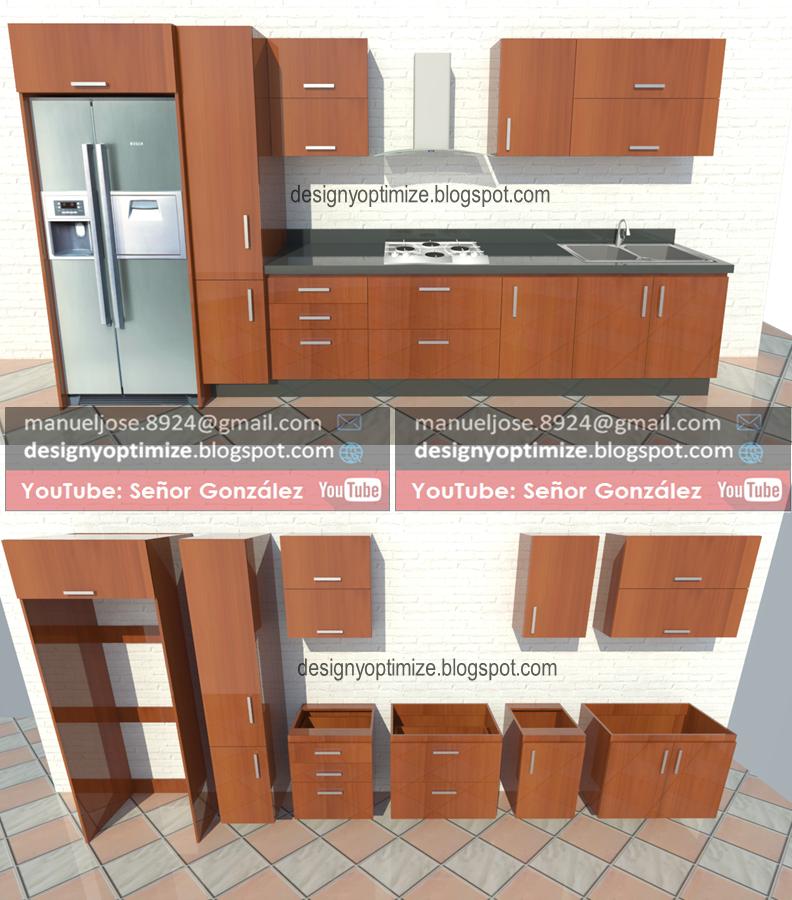 Dise o de muebles madera planos para construir cocina de for Cocina 4 metros