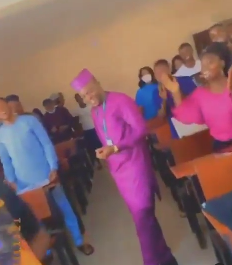 Students of Federal University of Agriculture, Abeokuta sing as they wish their lecturer a happy birthday (Video)