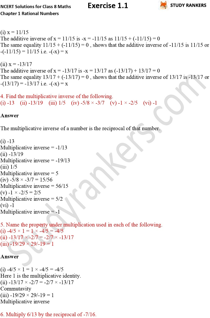 NCERT Solutions for Class 8 Maths Chapter 1 Rational Numbers Exercise 1.1 Part 2