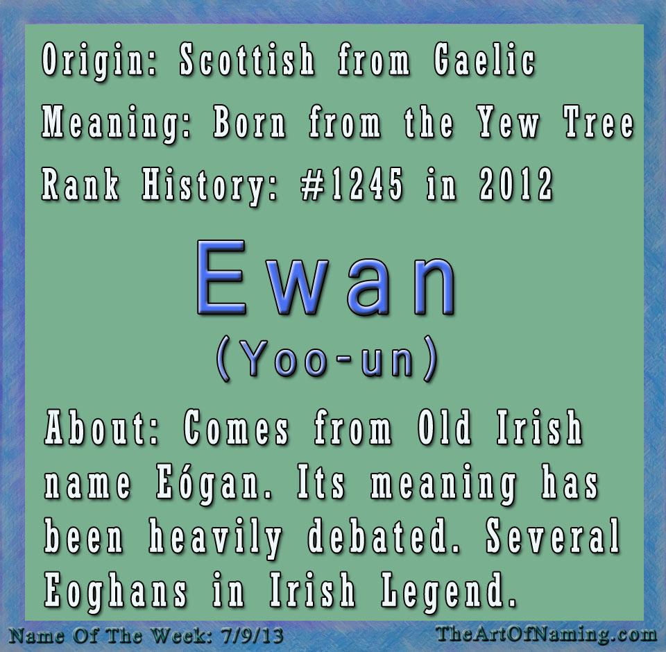 %name%: The Art Of Naming: Boy Name Of The Week: Ewan