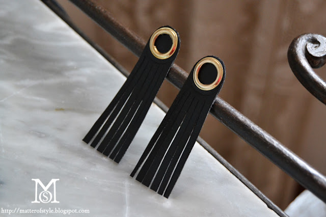burberry inspired fringed eyets earrings DIY, fashion diy, diy, how to, tutorial, eyelets, fringed