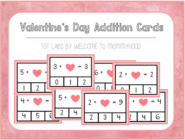 Valentine's Day Activities: missing number addition cards by Welcome to Mommyhood #valentinesday #preschoolactivities #preschool #kindergarten #kindergartenactivities
