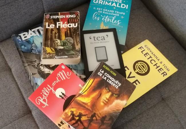 """""""Il est grand temps de rallumer les étoiles"""", """"Le Fléau"""", """"Batman"""", """"Les aventuriers de la mer"""" (tome 3), """"Billy and me"""", """"Eve of man"""" et une liseuse posés sur un canapé gris."""