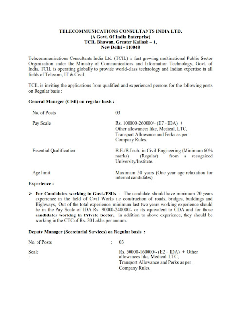 General Manager posts in TCIL(03 posts)