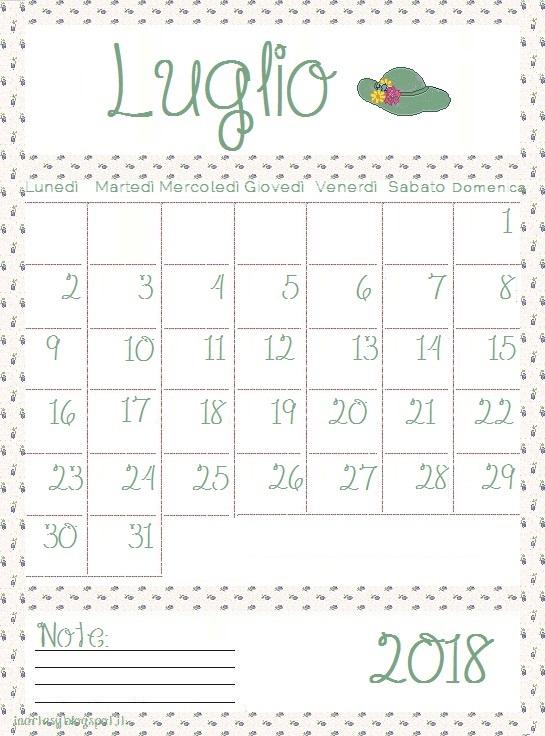 Calendario Stampabile Mese Luglio 2018 Inartesy