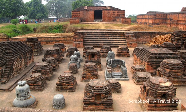 Temple and small stupas at Nalanda Ancient University Complex Bihar India