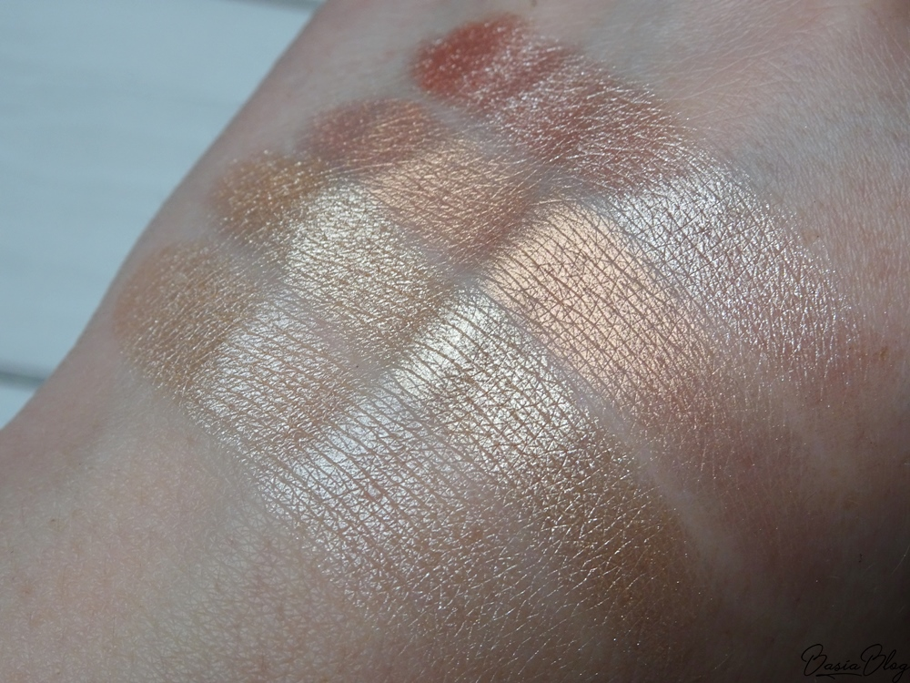 paleta wypiekanych rozświetlaczy My Secret, Glamour Goddess, Glow Baby, Golden Girl, Princess Dream, My Secret Face Illuminator Powder Palette swatch blog