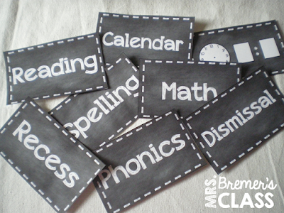 Fully EDITABLE chalkboard style schedule cards for the classroom