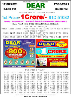 Nagaland State Lottery Result Today 17.8.21,4PM