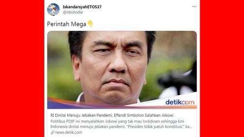 Effendi Simbolon Kritik Jokowi Tak Terapkan Lockdown, Netizen Singgung Perintah Mega dan Putri Mahkota
