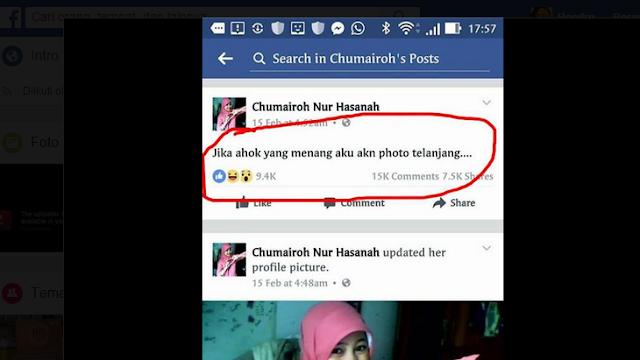 "Chumairoh Nur Hasanah: ""Jika ahok yang menang aku akn photo telanjang"""