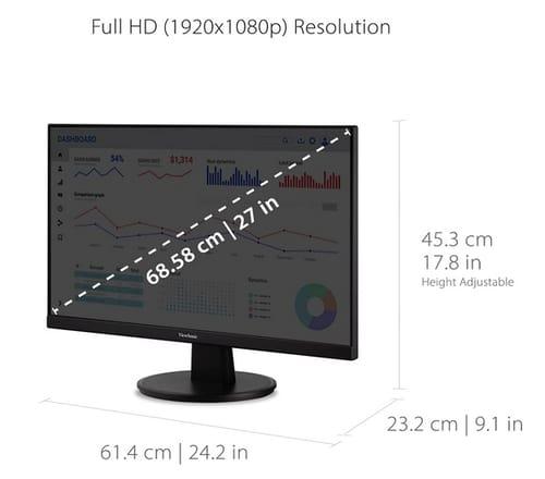 ViewSonic VA2747-MH 27 Inch Full HD 1080p Monitor