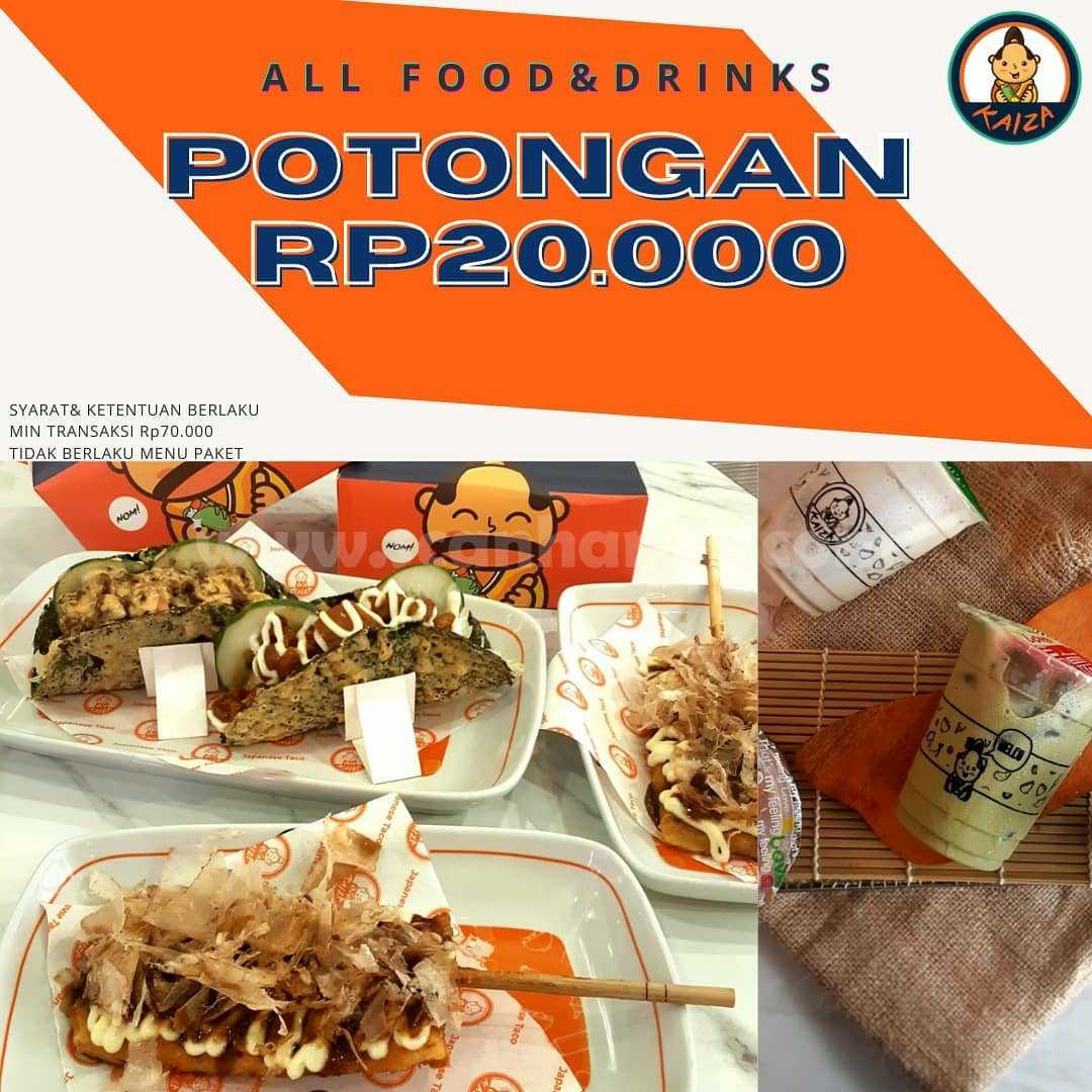 KAIZA Promo Potongan Diskon Rp 20.000 All Food & Drinks!