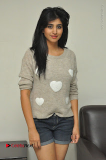 Actress Model Shamili (Varshini Sounderajan) Stills in Denim Shorts at Swachh Hyderabad Cricket Press Meet  0022.JPG