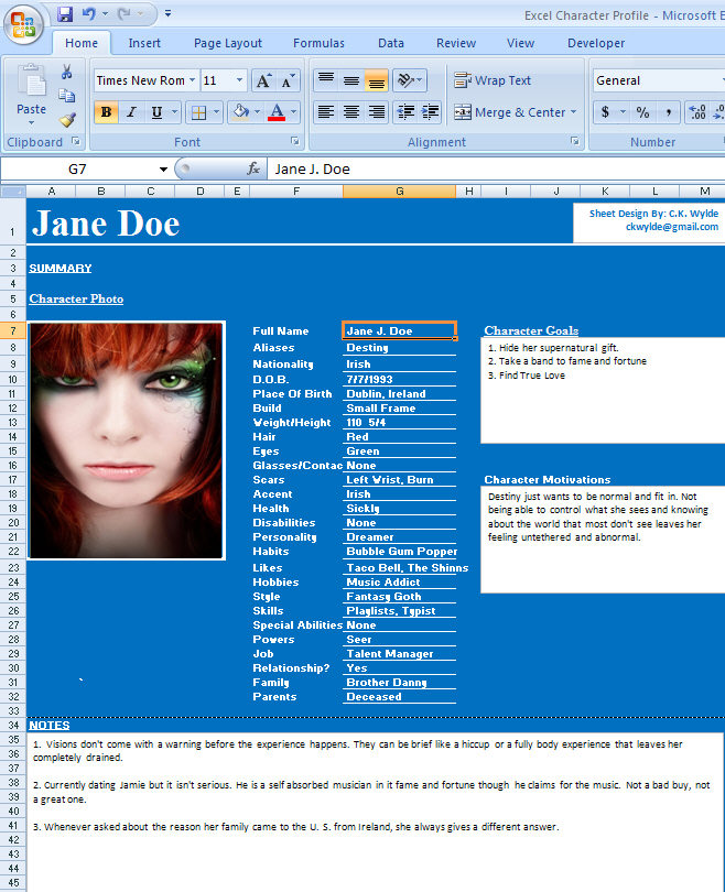 Tools For Writers Excel Character Profile Sheet