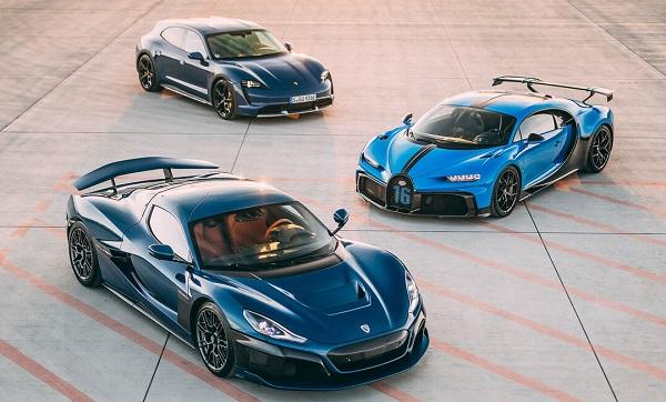 Rimac Nevera, Bugatti Chiron y Porsche Taycan