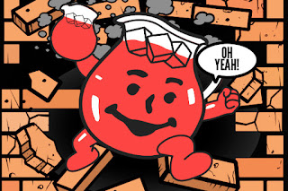 the Kool-Aid man doing what he better knows.